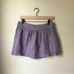 Theory Heathered Purple Linen Mini Skirt, size 6